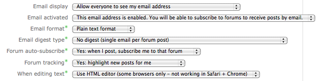 Email options in profile