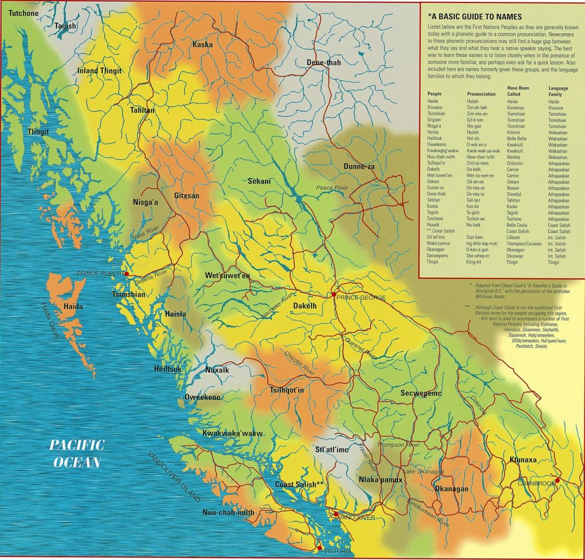 Represents boundaries of the various First Nations across British Columbia. Includes a basic pronunciation guide to names